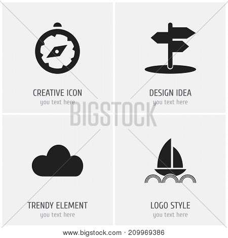 Set Of 4 Editable Trip Icons. Includes Symbols Such As Yacht, Compass, Crossroad And More
