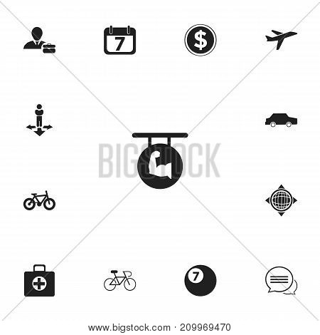 Set Of 13 Editable Mixed Icons. Includes Symbols Such As Car, Biceps, Bicycle And More