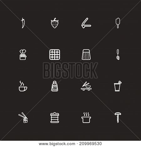 Set Of 16 Editable Food Outline Icons. Includes Symbols Such As Sushi Rolls, Chili, Toast And More