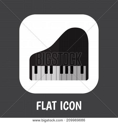 Vector Illustration Of Media Symbol On Royal Flat Icon