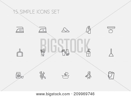 Set Of 15 Editable Cleaning Outline Icons. Includes Symbols Such As Sponge, Scoop, Window Cleaner And More