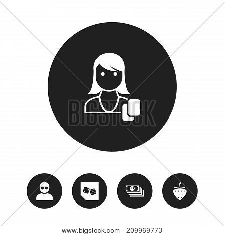Set Of 5 Editable Business Icons. Includes Symbols Such As Dice, Strawberry, Woman Gamer And More