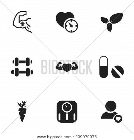 Set Of 9 Editable Lifestyle Icons. Includes Symbols Such As Stopwatch, Hand Barbell, Strong Love