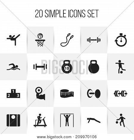 Set Of 20 Editable Sport Icons. Includes Symbols Such As Balance, Basketball, Acrobatics And More