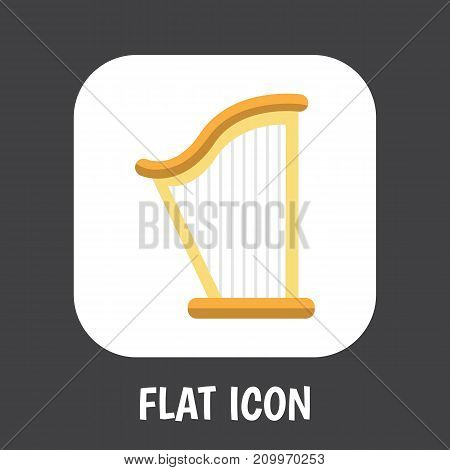 Vector Illustration Of Mp3 Symbol On Harp Flat Icon