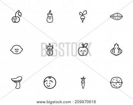 Set Of 12 Editable Vegetable Outline Icons. Includes Symbols Such As Laughing Cherry, Aubergine, Walnut And More