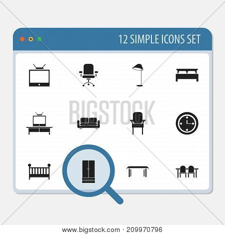 Set Of 12 Editable Interior Icons. Includes Symbols Such As Tv, Stool, Child Cot And More