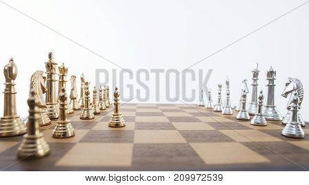 Gold and silver pieces of a chess set