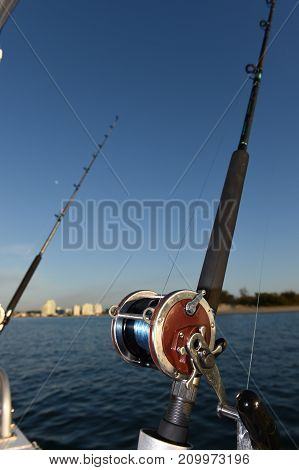 Fishing Rod & Reel on a Charter Boat.