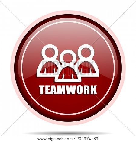 Teamwork red glossy round web icon. Circle isolated internet button for webdesign and smartphone applications.
