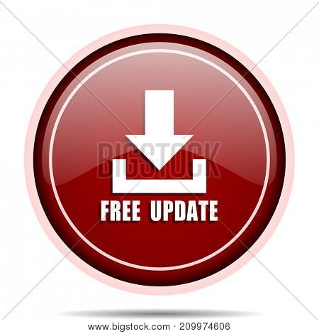 Free update red glossy round web icon. Circle isolated internet button for webdesign and smartphone applications.