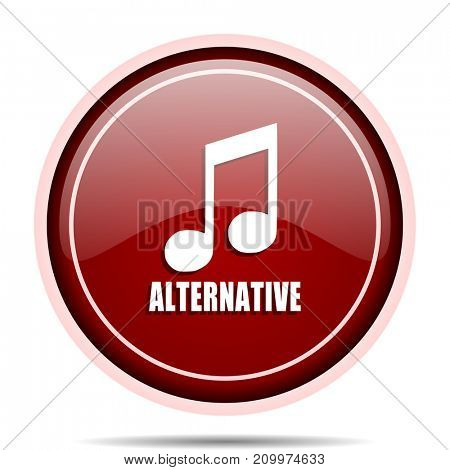 Alternative music red glossy round web icon. Circle isolated internet button for webdesign and smartphone applications.