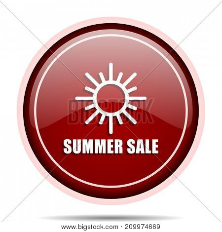 Summer sale red glossy round web icon. Circle isolated internet button for webdesign and smartphone applications.