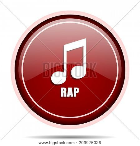 Rap music red glossy round web icon. Circle isolated internet button for webdesign and smartphone applications.