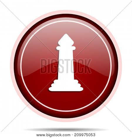 Chess red glossy round web icon. Circle isolated internet button for webdesign and smartphone applications.