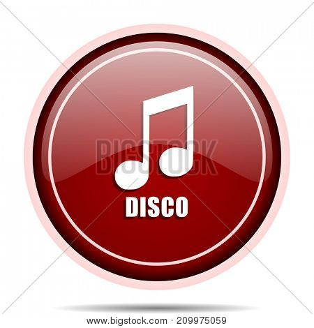 Disco music red glossy round web icon. Circle isolated internet button for webdesign and smartphone applications.