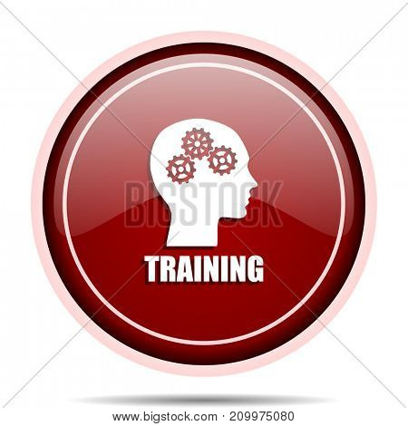 Training red glossy round web icon. Circle isolated internet button for webdesign and smartphone applications.