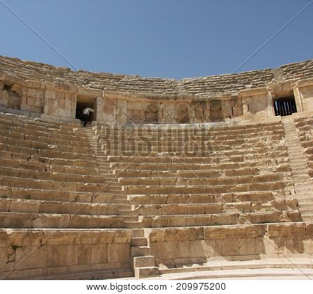 North theatre in the ruins of the old city of Jerash in Jordan