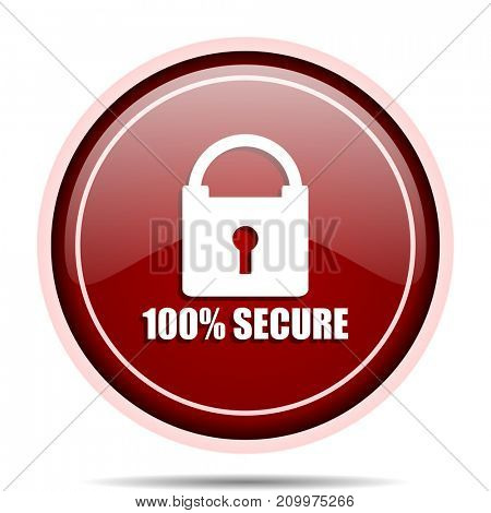 Secure red glossy round web icon. Circle isolated internet button for webdesign and smartphone applications.