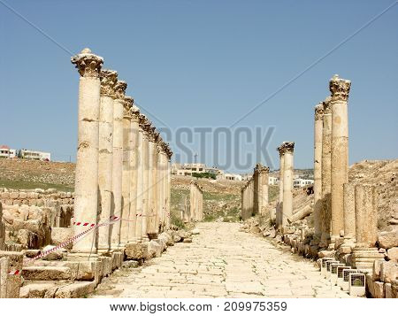 Colonnaded street in the Ruins of the old city of Jerash in Jordan