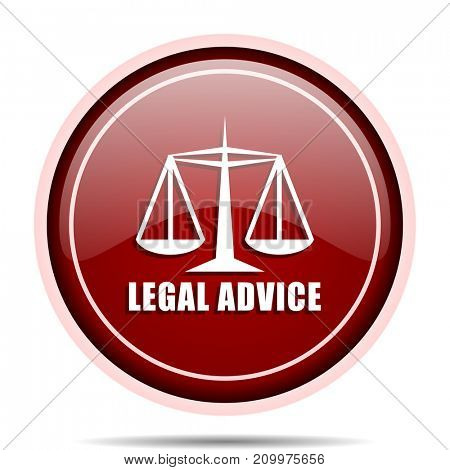 Legal advice red glossy round web icon. Circle isolated internet button for webdesign and smartphone applications.