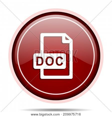 Doc file red glossy round web icon. Circle isolated internet button for webdesign and smartphone applications.