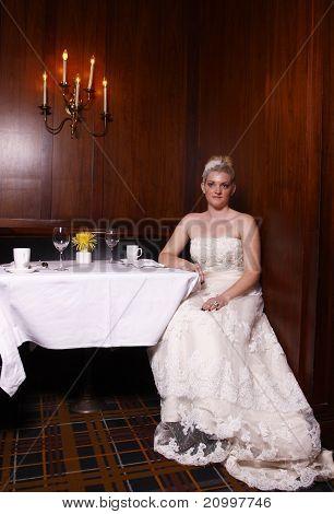 Bride waiting for dinner