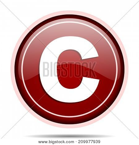 Copyright red glossy round web icon. Circle isolated internet button for webdesign and smartphone applications.