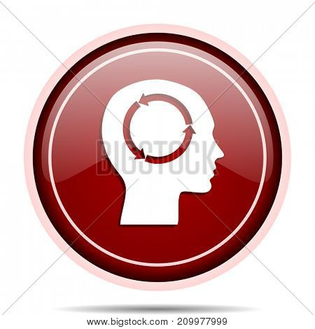 Head red glossy round web icon. Circle isolated internet button for webdesign and smartphone applications.