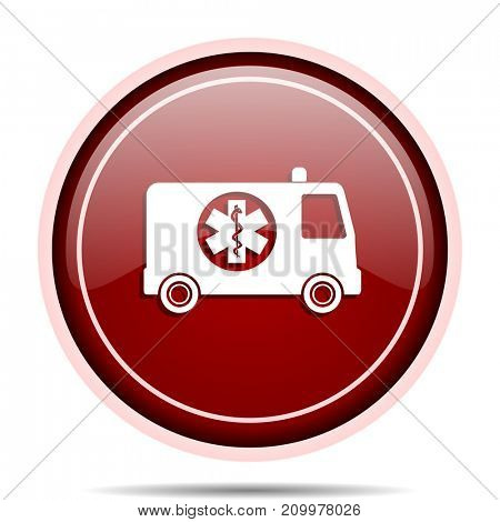 Ambulance red glossy round web icon. Circle isolated internet button for webdesign and smartphone applications.