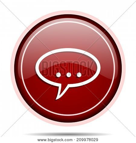 Forum red glossy round web icon. Circle isolated internet button for webdesign and smartphone applications.