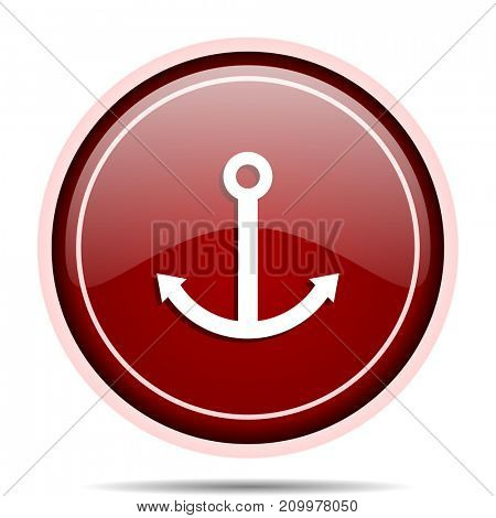 Anchor red glossy round web icon. Circle isolated internet button for webdesign and smartphone applications.