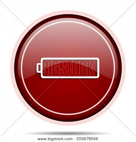 Battery red glossy round web icon. Circle isolated internet button for webdesign and smartphone applications.