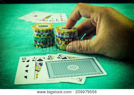 abstract scene of poker game and chip bet - can use to display or montage on product