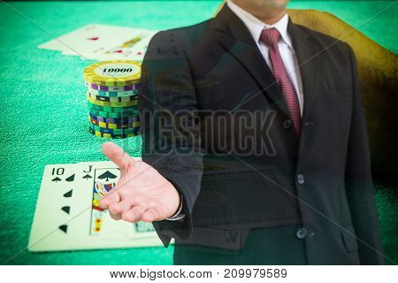 double exposure of businessman and poker game - can use to display or montage on product