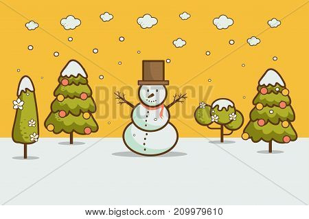 Nature cartoon style winter landscape with Christmas trees snowman snow drifts. merry christmas & happy new year card background vector illustration