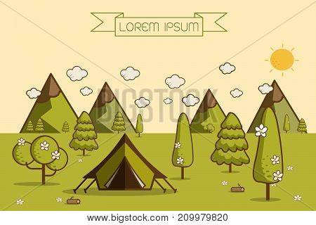 nature landscape. morning landscape in the mountains. solitude in nature by the mountain. weekend in the tent. hiking and camping. vector flat illustration