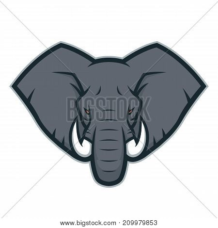 Clipart picture of an elephant head cartoon mascot character