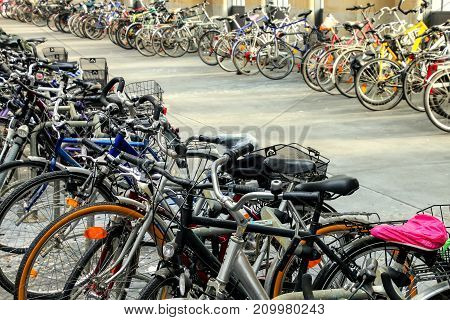 Bicycles Parked Inside Train Station In Wiesbaden, Hesse, Germany