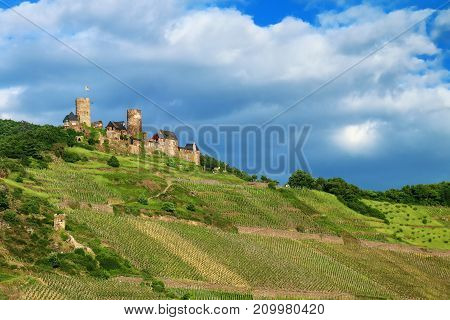 Thurant  Castle Above Alken Town On Moselle River, Rhineland-palatinate, Germany.