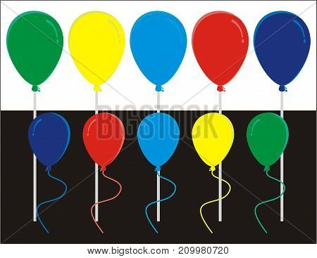 Colorful balloons with background black and white