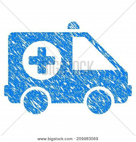 Grunge Ambulance Van icon with scratched design and grungy texture. Unclean vector blue Ambulance Van pictogram for rubber seal stamp imitations and watermarks. Draft sticker symbol.