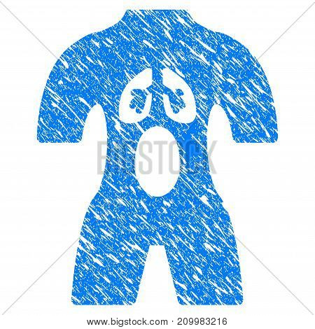 Grunge Anatomy icon with scratched design and scratched texture. Unclean vector blue Anatomy pictogram for rubber seal stamp imitations and watermarks. Draft emblem symbol.