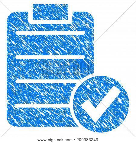 Grunge Approve Test icon with scratched design and dust texture. Unclean vector blue Approve Test pictogram for rubber seal stamp imitations and watermarks. Draft sign symbol.