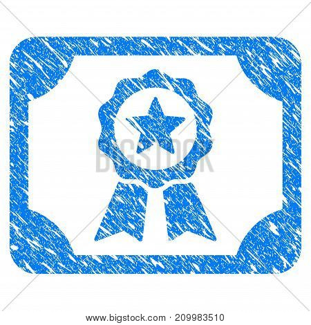 Grunge Authorize Diploma icon with scratched design and dirty texture. Unclean vector blue Authorize Diploma pictogram for rubber seal stamp imitations and watermarks. Draft emblem symbol.