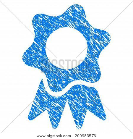 Grunge Award Seal icon with scratched design and unclean texture. Unclean vector blue Award Seal pictogram for rubber seal stamp imitations and watermarks. Draft emblem symbol.