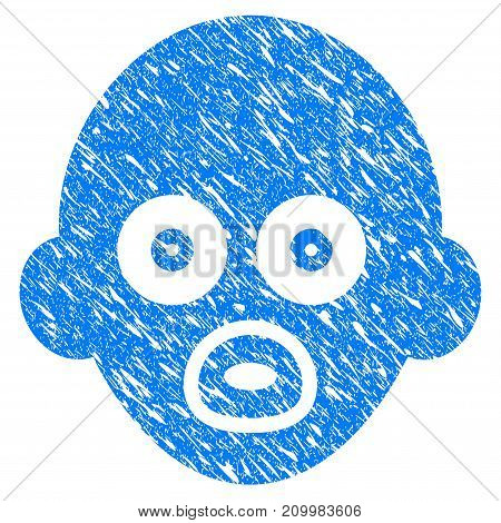 Grunge Baby Head icon with scratched design and scratched texture. Unclean vector blue Baby Head pictogram for rubber seal stamp imitations and watermarks. Draft sign symbol.