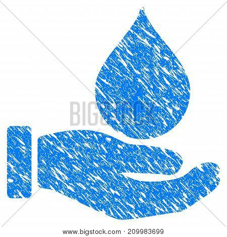Grunge Blood Donation Hand icon with scratched design and unclean texture. Unclean vector blue Blood Donation Hand pictogram for rubber seal stamp imitations and watermarks. Draft emblem symbol.