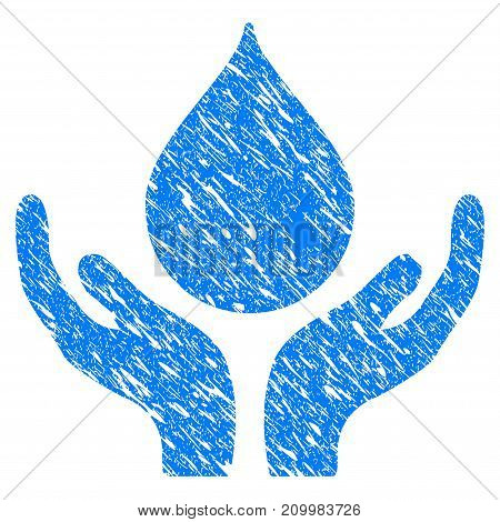 Grunge Blood Donation Hands icon with scratched design and unclean texture. Unclean vector blue Blood Donation Hands pictogram for rubber seal stamp imitations and watermarks. Draft sign symbol.