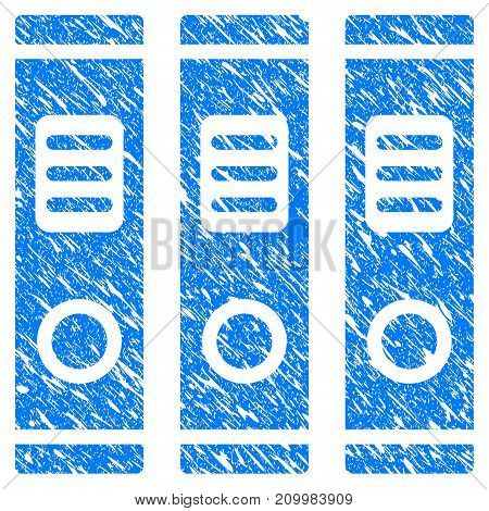 Grunge Books icon with scratched design and dust texture. Unclean vector blue Books pictogram for rubber seal stamp imitations and watermarks. Draft emblem symbol.